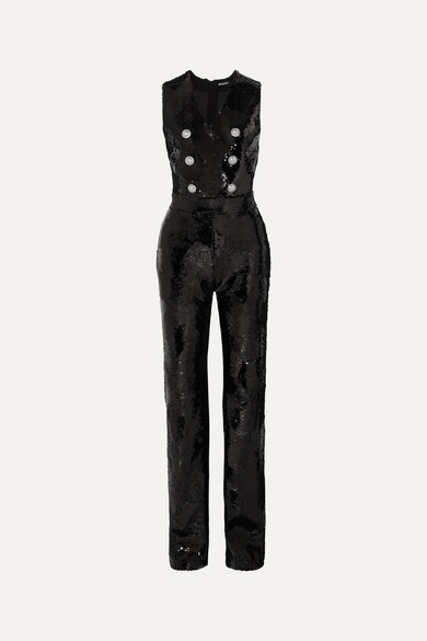 Balmain Suits Button-embellished sequined crepe jumpsuit