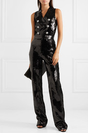 Button-embellished sequined crepe jumpsuit