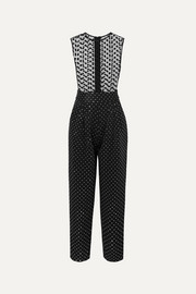 Balmain Flocked tulle and crystal-embellished crepe jumpsuit