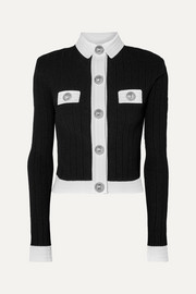 Balmain Button-embellished two-tone ribbed-knit cardigan