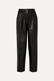 Balmain Pleated leather tapered pants