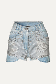 Balmain Verzierte Jeansshorts in Distressed-Optik