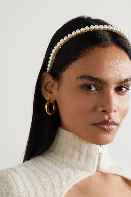 Jennifer Behr Brinn goldfarbener Haarreif mit Swarovski-Perlen