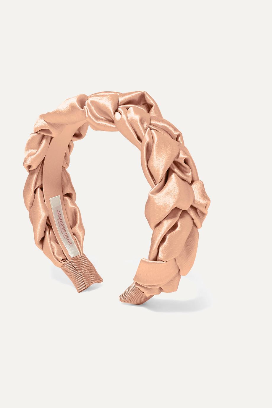 Jennifer Behr Lorelei braided hammered silk-satin headband