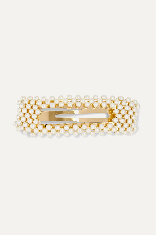 White Valerie Gold Tone Faux Pearl Hair Clip Jennifer Behr Net A Porter