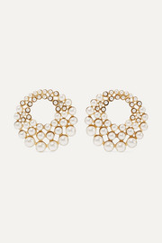 Jennifer Behr Paola gold-tone Swarovski pearl clip earrings