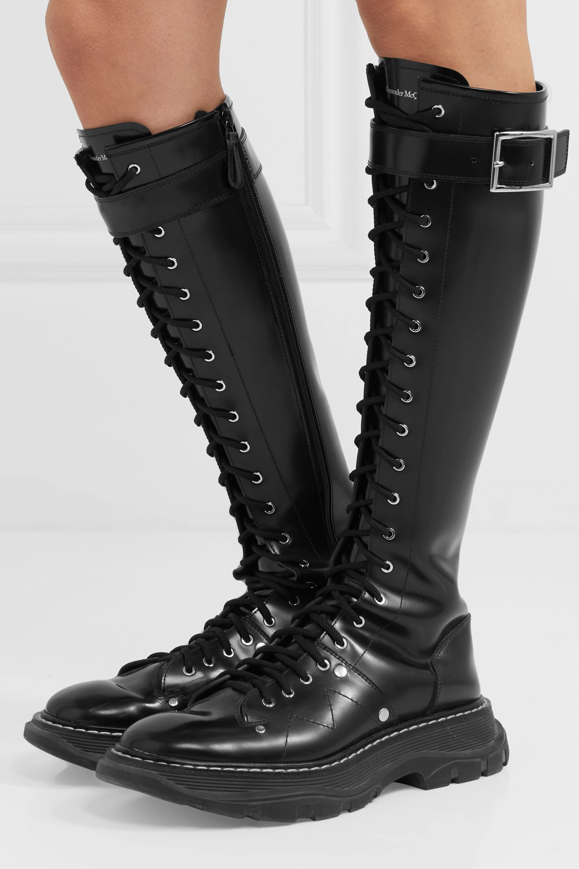 Alexander McQueen Glossed-leather exaggerated-sole knee boots