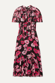Jason Wu Collection Ruffled floral-print silk-crepon midi dress