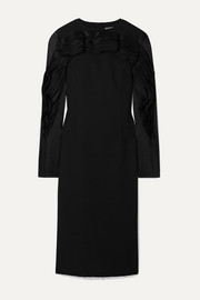 Jason Wu Collection Ruffled satin and chiffon-trimmed crepe dress