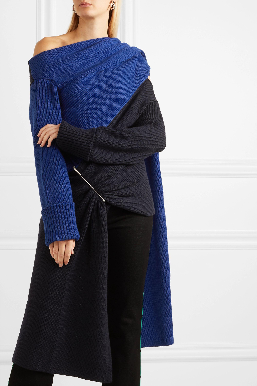 Monse Asymmetric cutout two-tone merino wool sweater