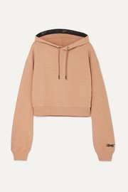 Reebok X Victoria Beckham Cropped embroidered loopback cotton-jersey hoodie