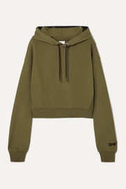 Reebok X Victoria Beckham Cropped embroidered cotton-jersey hoodie