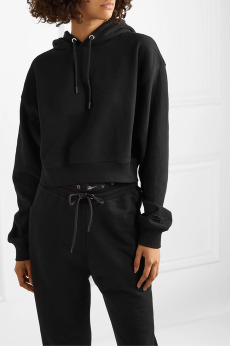 Cropped embroidered cotton-jersey hoodie
