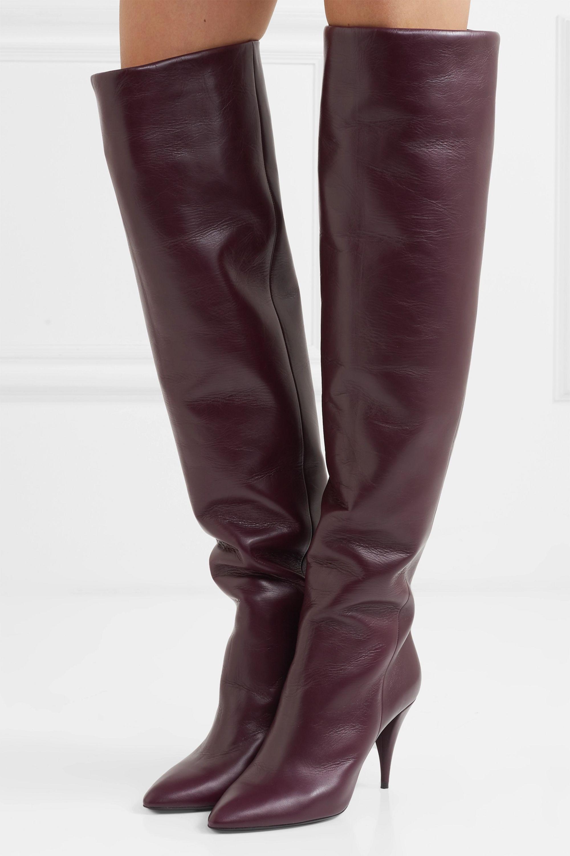Burgundy Kiki leather over the knee