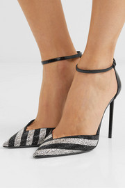 Zoe striped crystal-embellished watersnake pumps