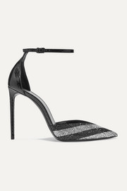 SAINT LAURENT Zoe striped crystal-embellished watersnake pumps