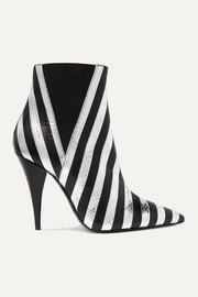 SAINT LAURENT Kiki striped leather and watersnake ankle boots