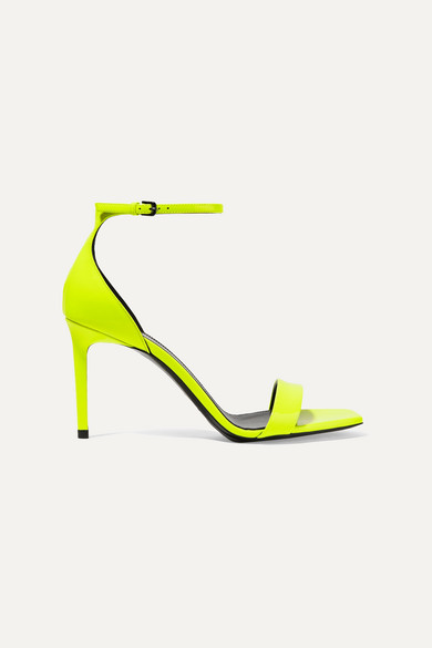 Amber Neon Patent Leather Sandals by Saint Laurent