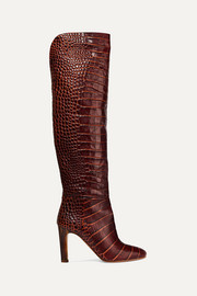 Linda croc-effect leather knee boots