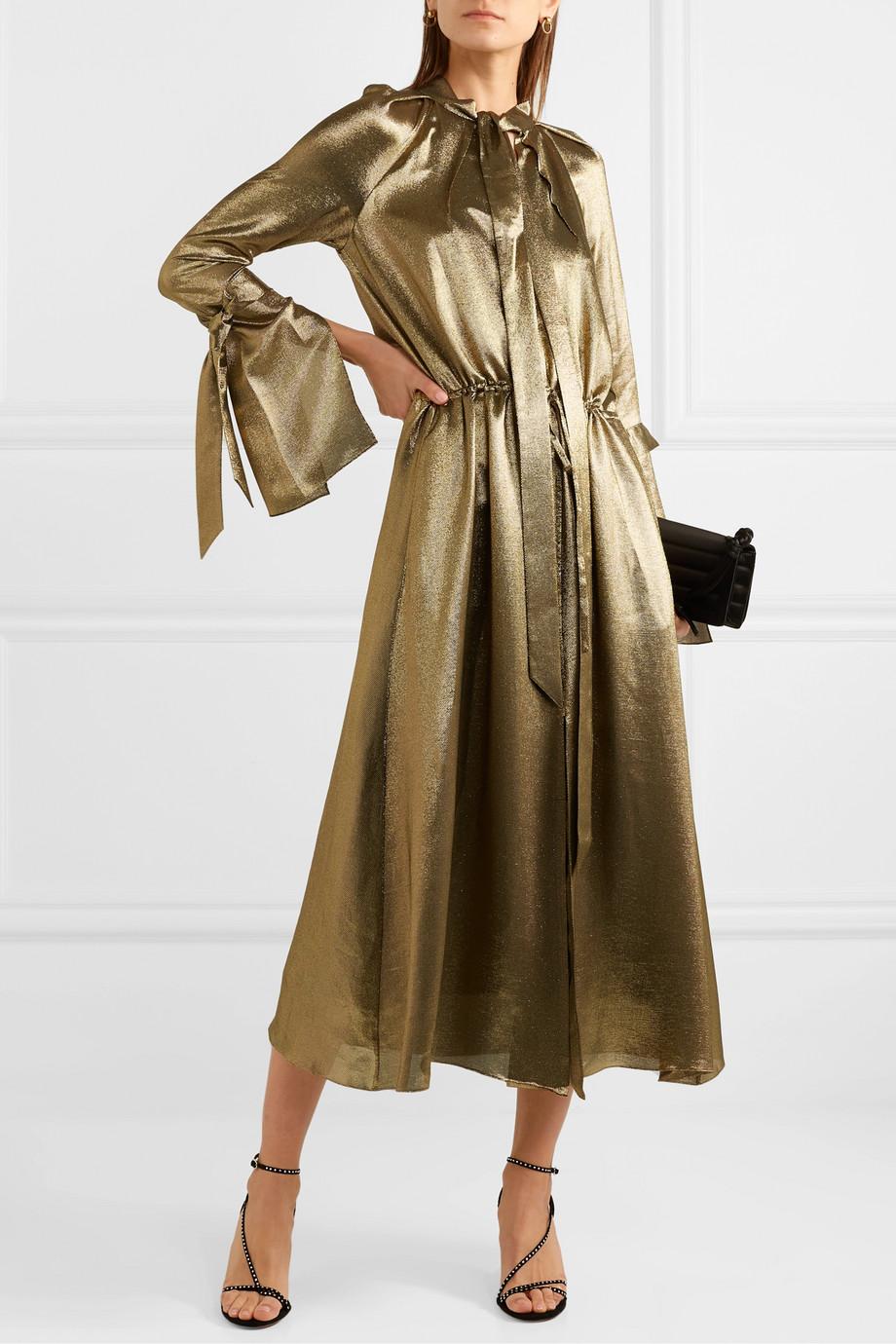 Roland Mouret Brandon pussy-bow silk-blend lamé midi dress