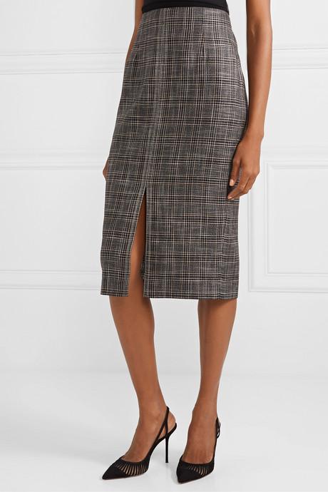 Moka checked bamboo skirt