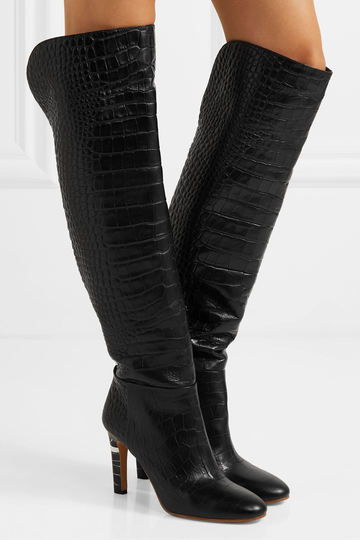 Gabriela Hearst Linda kniehohe Stiefel aus Leder mit Krokodileffekt