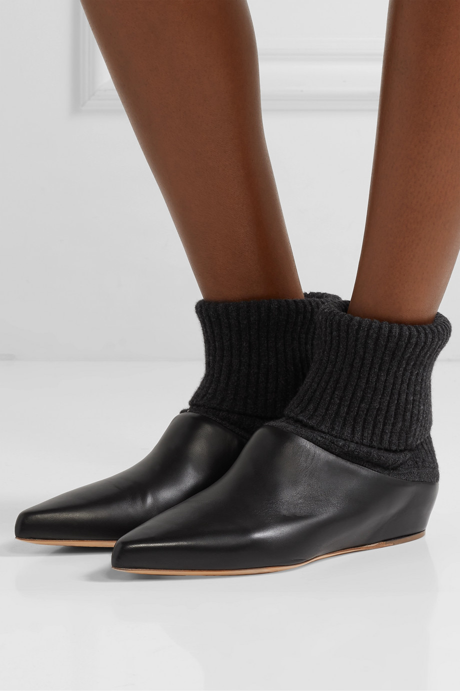 Gabriela Hearst Rocia leather and cashmere sock boots