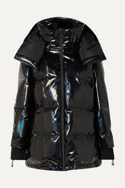 Hooded appliquéd quilted holographic down ski jacket