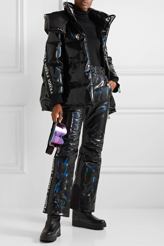 Fendi Hooded appliquéd quilted holographic down ski jacket