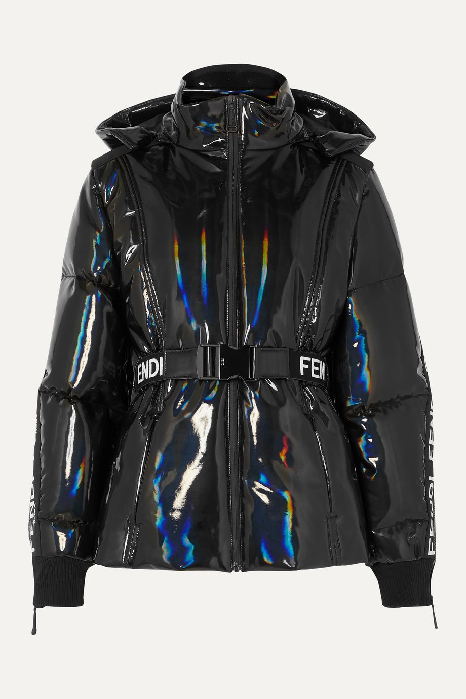 Fendi Appliquéd holographic down ski jacket