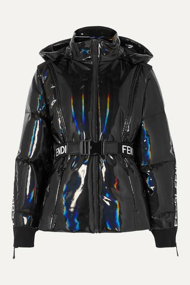 Fendi Jackets Appliquéd holographic down ski jacket