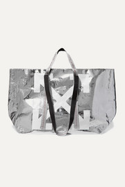 Commercial printed metallic textured-shell tote