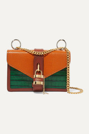 Aby Chain paneled croc-effect and lizard-effect leather shoulder bag