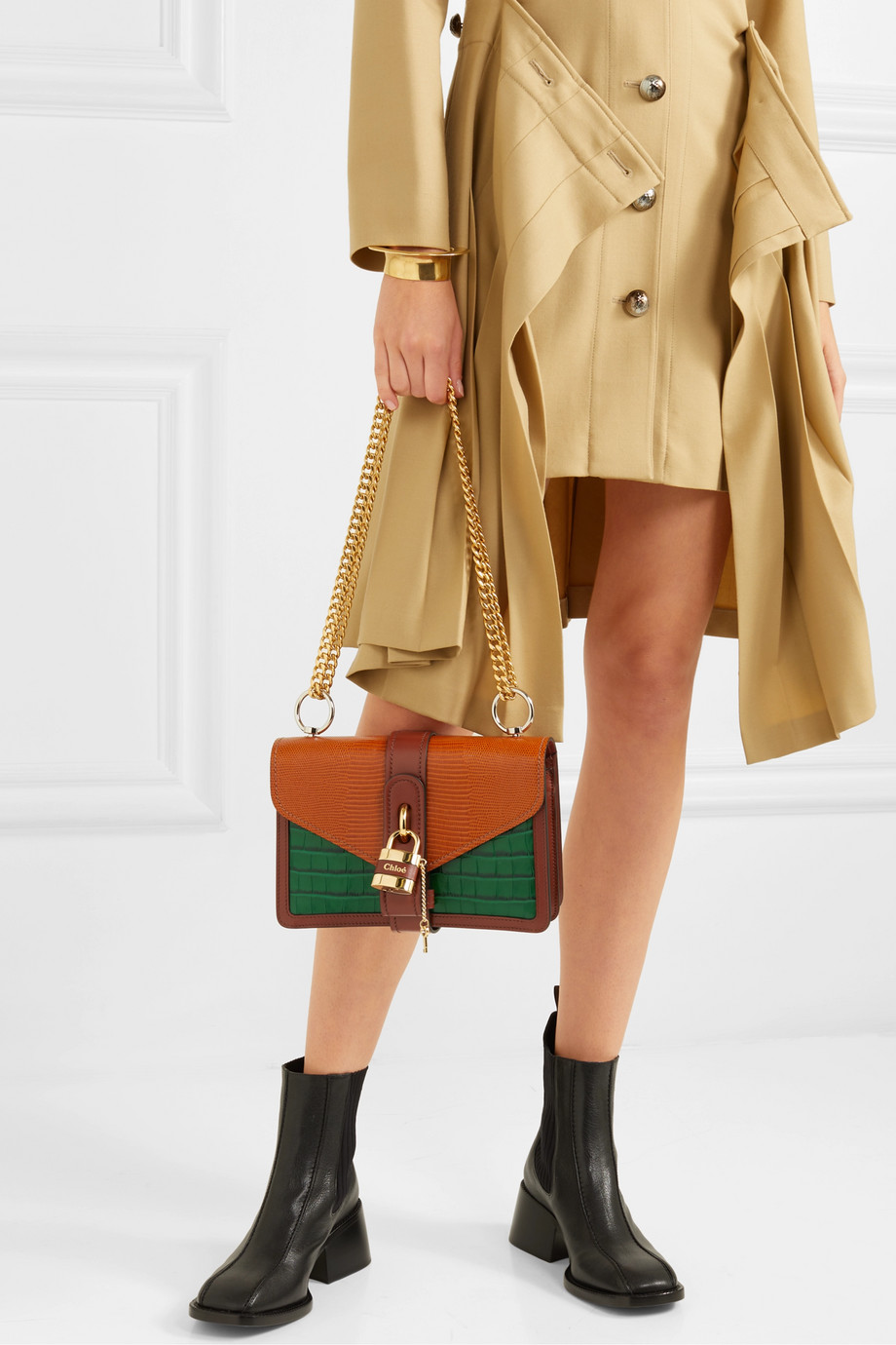 Chloé Aby Chain paneled croc-effect and lizard-effect leather shoulder bag