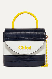 Chloé Aby Lock small striped croc-effect leather shoulder bag