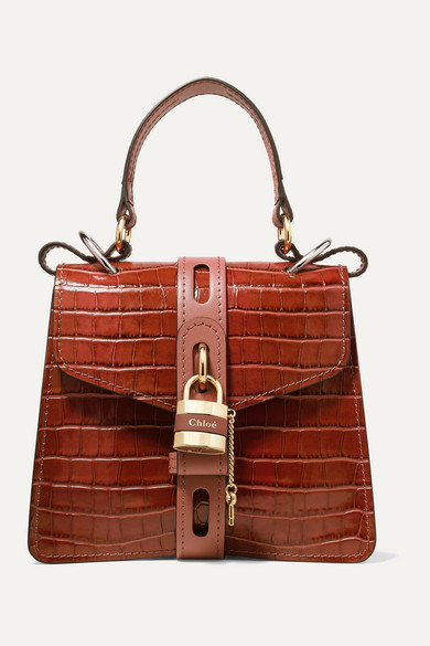 54bfe70b152 Aby small croc-effect leather tote