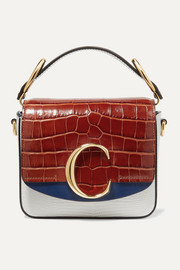 Chloé C croc-effect and lizard-effect leather shoulder bag