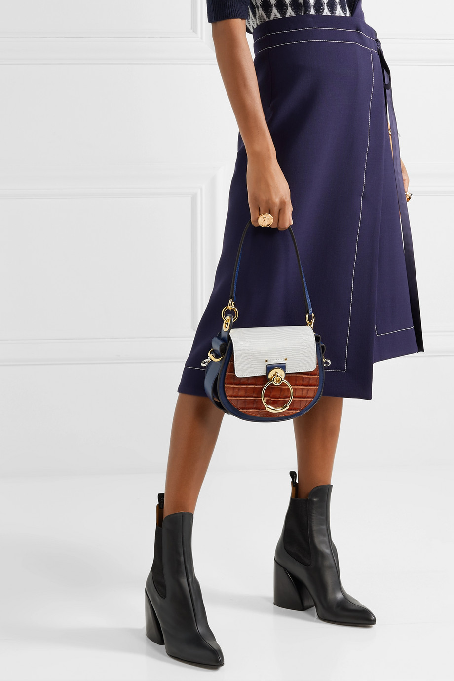 Chloé Tess small croc-effect and lizard-effect leather shoulder bag
