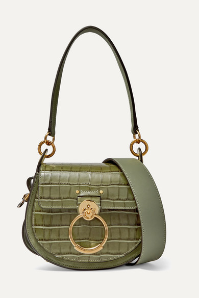 Tess Small Croc Effect Leather Shoulder Bag by Chloé