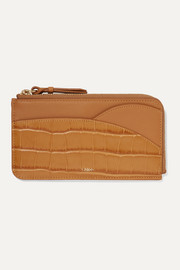 Walden smooth and glossed croc-effect leather cardholder