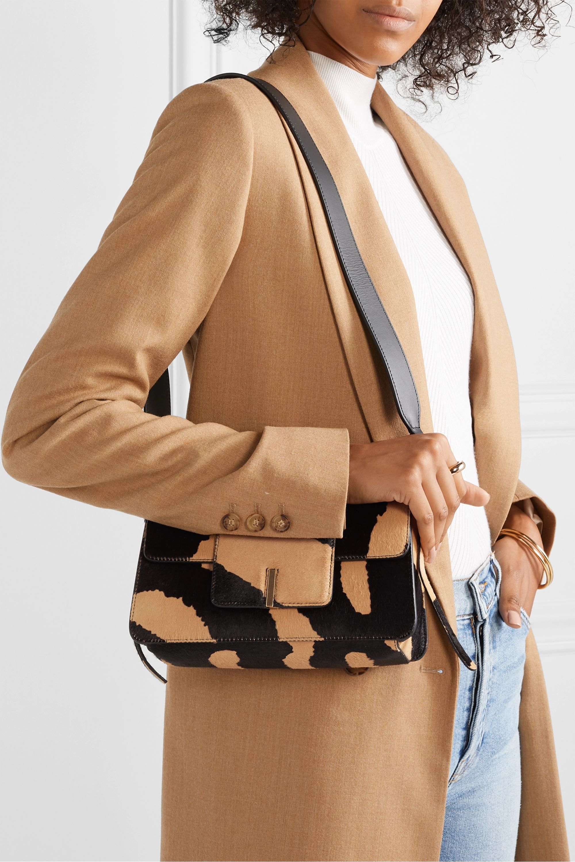 Wandler Georgia leather-trimmed calf hair shoulder bag