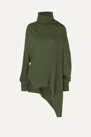 Marques' Almeida Asymmetric draped distressed ribbed wool sweater