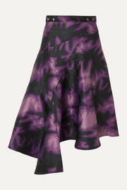 Marques' Almeida Asymmetric printed brocade wrap midi skirt
