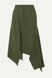 Marques' Almeida Asymmetric draped distressed ribbed wool skirt