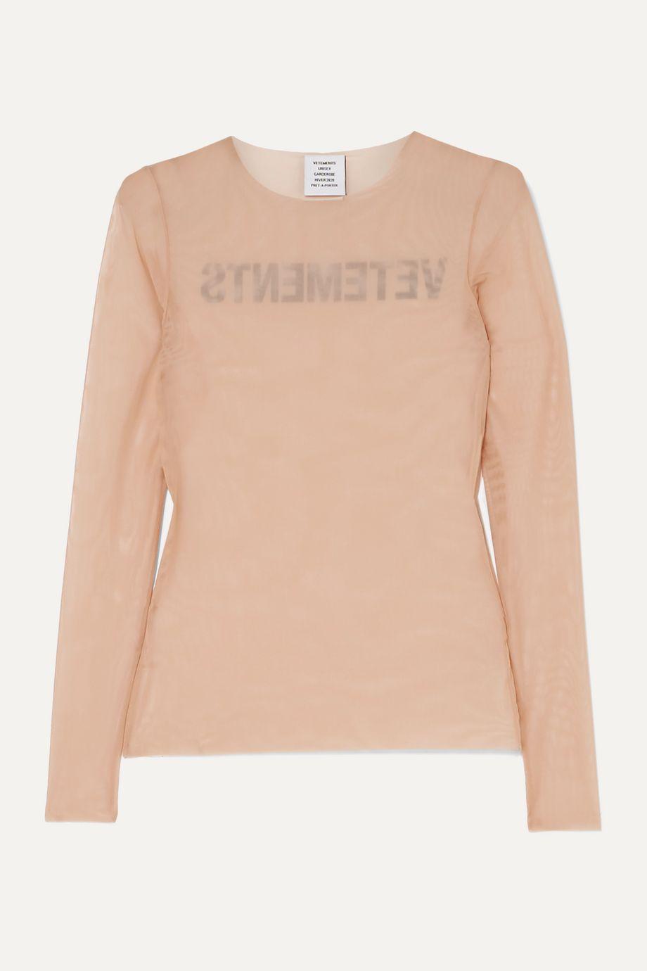 Vetements Printed stretch-mesh top