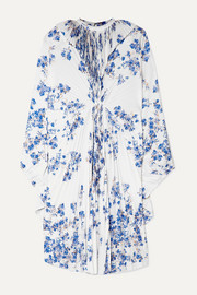 Vetements Pleated floral-print crepe midi dress