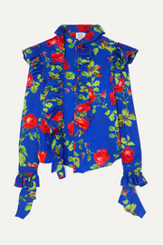 Vetements Ruffled floral-print crepe blouse