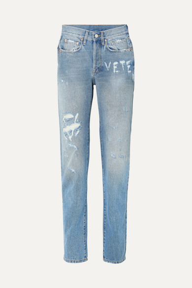Vetements Jeans Distressed high-rise straight-leg jeans