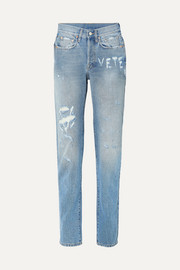 Distressed high-rise straight-leg jeans