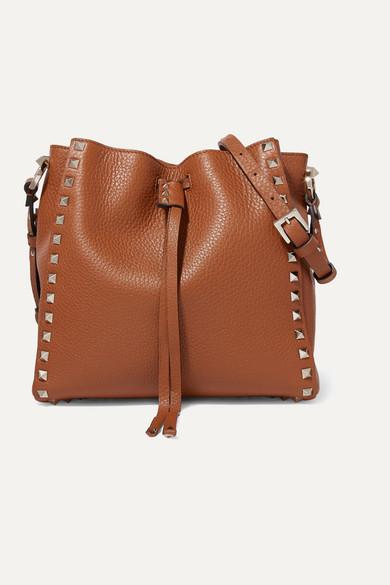Valentino Garavani Rockstud Small Textured Leather Bucket Bag
